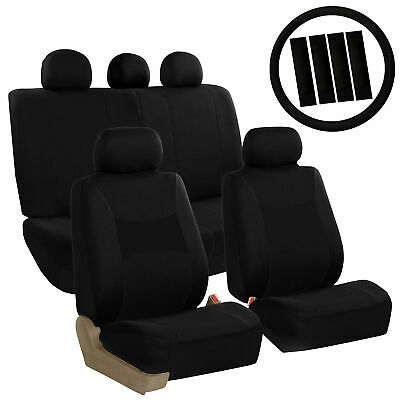Car Seat Covers Black Set for Auto w/Steering Wheel/Belt Pad/Head Rests