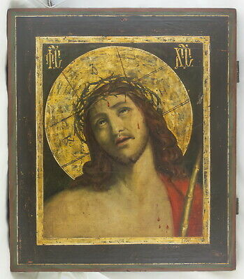 ANTIQUE RUSSIAN ICON Jesus Christ in the Crown of Thorn,19c.