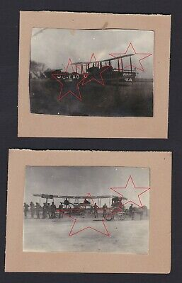 2 old photos Vimy Ross Smith aircraft at Harry Butler's airfield Adelaide 1920