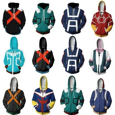 My Boku no Hero Academia Izuku Shoto Bakugo Hoodie Zip Coat Sweatshirt Cosplay