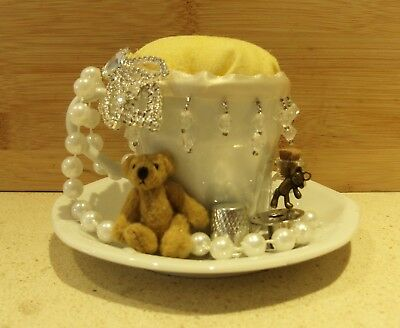 Unique handmade pin cushion pin keep sewing gift OOAK mini tea cup diamante bear