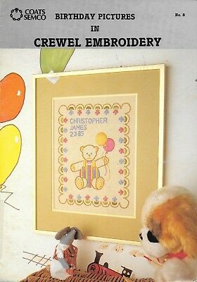 VIntage Coats Semco birthday pictures in crewel embroidery leaflet #8 pattern