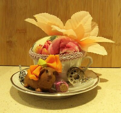 Unique handmade pin cushion pin keep sewing gift OOAK mini tea cup guinea pig