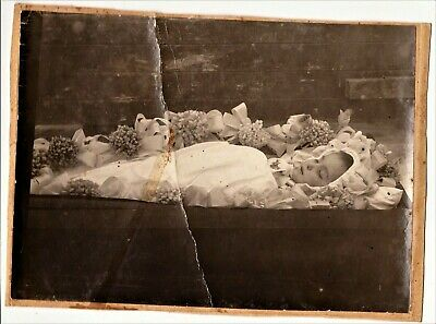 Post Mortem, coffin, baby,little angel, russian antique photo