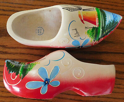 Wooden Dutch clogs Carved wood hand painted size 23 cm 34/35 UK size 2