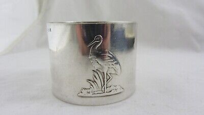 Antique Stork Silver plate Napkin ring WMF Ostrich mark C1910 Christening Baby