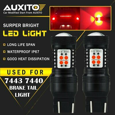 AUXITO 2x 7443 7440 Red LED Alert Brake Tail Stop Light Bulbs High Power 3030SMD