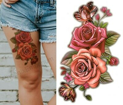 Temporary Tattoo Large Red Pink Roses 3D Body Art Fake Waterproof Ladies
