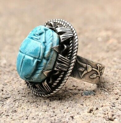 Antique Sterling Silver Egyptian Revival Carved Turquoise Scarab Ring