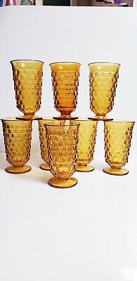 Set of 8 Vtg Indiana Colony Whitehall Amber Footed Iced Tea Tumblers ~Flared Rim