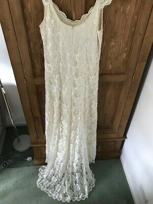 Phase Eight Ivory beaded Lace 'Eve' wedding cruise evening Dress - Size 16