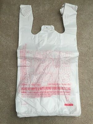 New 100ct Large 1/6 Thank You T-shirt Plastic Grocery Shopping Bags With Handle