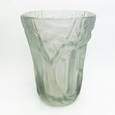 Vintage Josef Inwald Barolac Vase - Forest Scene w/ High Relief - Czech Crystal