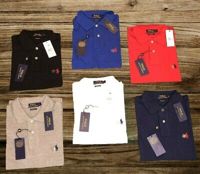 SALDI Polo Ralph Lauren Uomo Custom Fit in Cotone Pique al 100% S M L XL