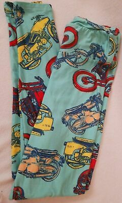 Lularoe Motorcycle Print Leggings OS One Size Blue Bright Colors Red Yellow