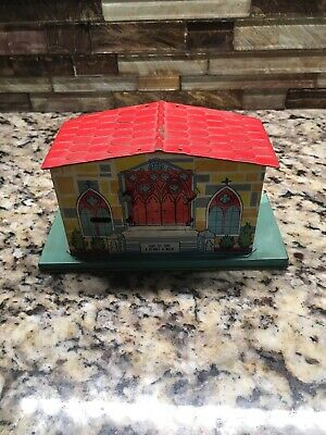 Square Trap 1930s Chein Church Brightly Lithographed Tin Bank Rare