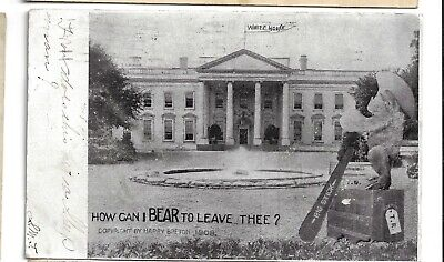 1908 Theodore Roosevelt 3rd Term Teddy Bear Postcard How Can I Bear To Leave WH?