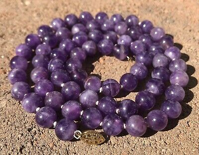 """Antique Old Chinese 14K Yellow Gold Natural Amethyst 8mm Beads Necklace 25"""""""