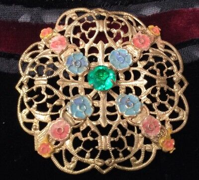 Antique Art Deco Czech Rolled Gold Czech Enamel Filigree Emerald Glass Brooch
