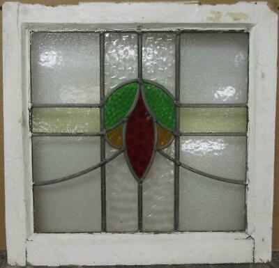 "OLD ENGLISH LEADED STAINED GLASS WINDOW Pretty Sweep Design 20"" x 19.5"""