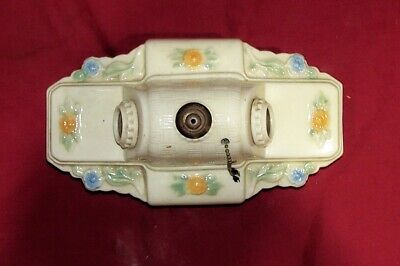 Vintage Porcelain Flower 2 Bulb Bathroom Kitchen Sink Stove Old Light Fixture