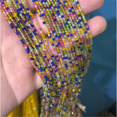 1pcs 2mm Color Spinel Section Loose Bead Jewelry 15.5inches Craft Lots Charm
