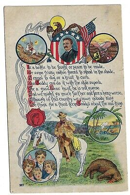 1908 Color Art Great Graphics Poem Theodore Roosevelt 3rd Term Campaign Postcard