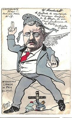 1905 French Peace Cartoon Postcard of Theodore Roosevelt Wearing Liberty Cap