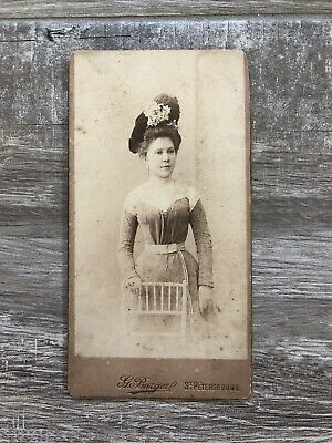 Antique photo cabinet card of wealthy Russian woman w/fashion hat St Petersbourg