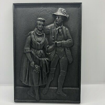 Vintage Cast Iron Wall Plaque German Couple Man Woman High Relief 10 x 6 3/4 in