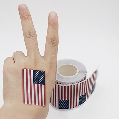 A Roll of 250 Pcs American Flag Stickers Label Parade Patriotic Sticker WH1