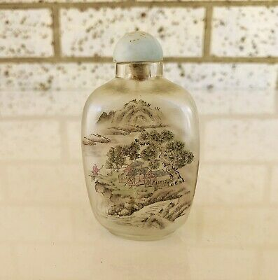 Vintage Chinese Inside Hand Painted Glass Snuff Bottle Circa 1920s