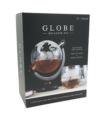 Ingenious Glass Globe Map Decanter Set with Two Tumblers