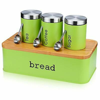 """Large Bread Box For Kitchen, 8 Piece Bin Storage Container Holder With Cutting """""""