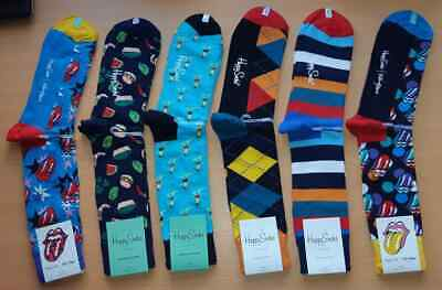 "6 Pairs Mixed Mens Sz 8-12 Combined Cotton ""Happy Socks"""