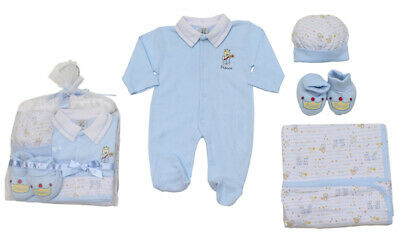 Baby Boys Traditional Prince Layette Gift Set Babygrow Booties Hat Wrap Blanket