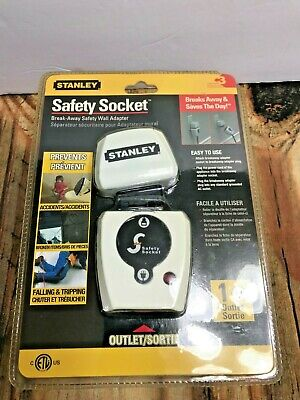 Stanley Safety Socket Break-Away Wall Electrical Adapter for Outlet  NEW