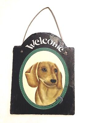HAND PAINTED DACHSHUND SLATE PLAQUE WELCOME SIGN dog doxie house SHABBY decor