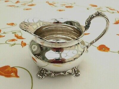 Art Deco Silver Plated Heavy Cream Jug With Patterned Feet/Base   1440176/180