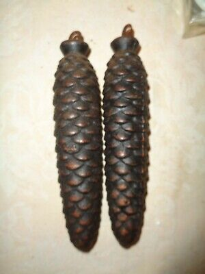 """Vintage Black Forest Germany Cuckoo Clock Weight Pine Cone 7"""" lot = 2 metal 41oz"""