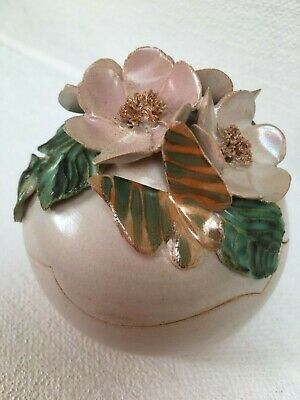 Vintage Hand Thrown Art Pottery Pot With Flowers And A Butterfly