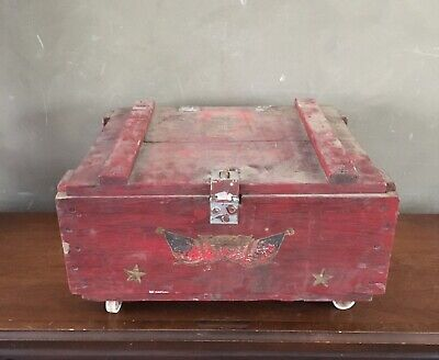 Antique Wooden Crate Box & Casters AAFA Primitive Folk Art Rustic American Eagle