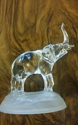 crystal cut clear glass elephant ornament paperweight