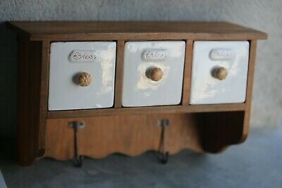 Antique Ceramic Spice Canister Rack Wall Mounting Teak 13.4 x 7.9inch