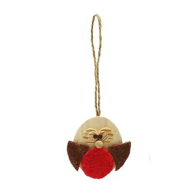 Christmas Festive Gnaw Nibble Wooden Wood Loofa Red Robin Toy Hamster Rats