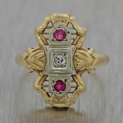 1930's Antique Art Deco 14k Yellow & White Gold Ruby & Diamond Filigree Ring