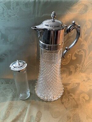"Vintage Crystal Carafe Pitcher Decanter Silverplate Top 13"" Ice Chiller Insert"