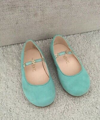 Next Girls Mint Green Shoes Size 5 Infant Baby Star Strap Worn Once Party Flats