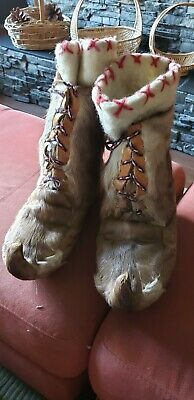 Antique, handmade snowboots,  great condition..real fur, wool insides.