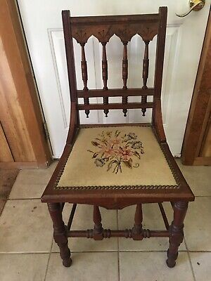 Antique Needlepoint CarvedWood Side Chairs